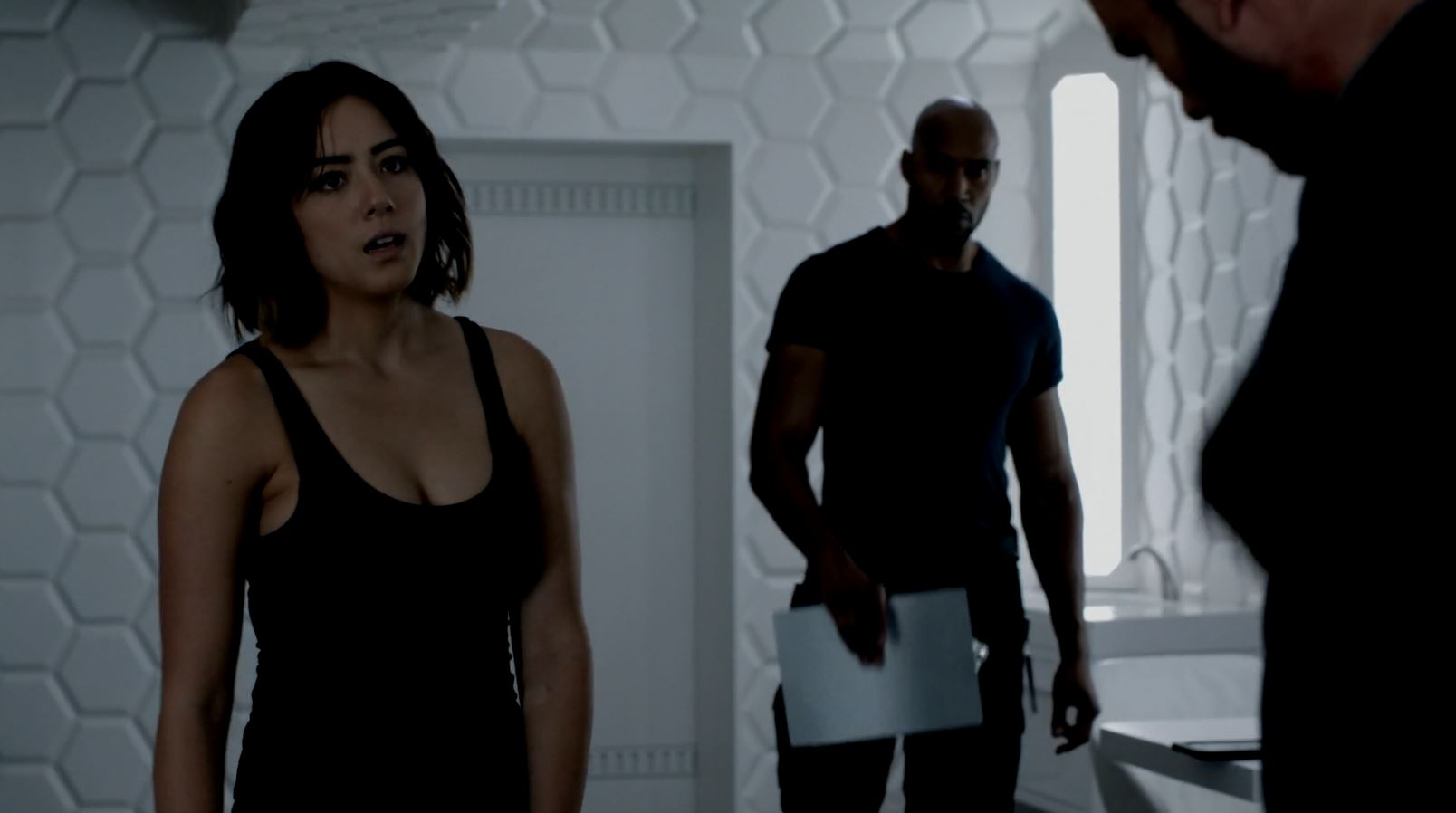 Mack and Daisy (Skye) interrogate Joey. Agents of SHIELD S3Ep1 Laws of Nature Review