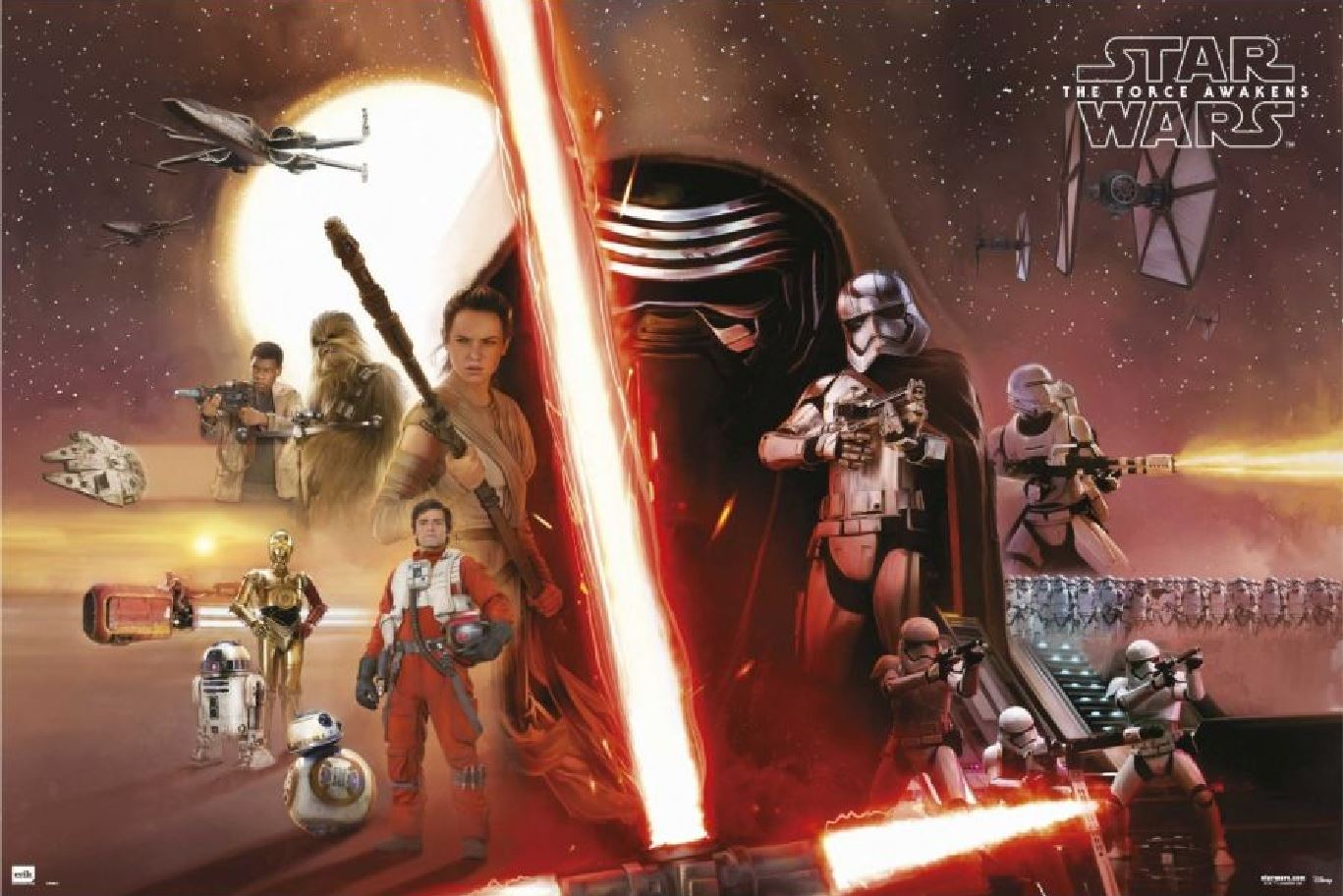 The Force Awakens poster - Kylo Ren, Rey and Captain Phasma