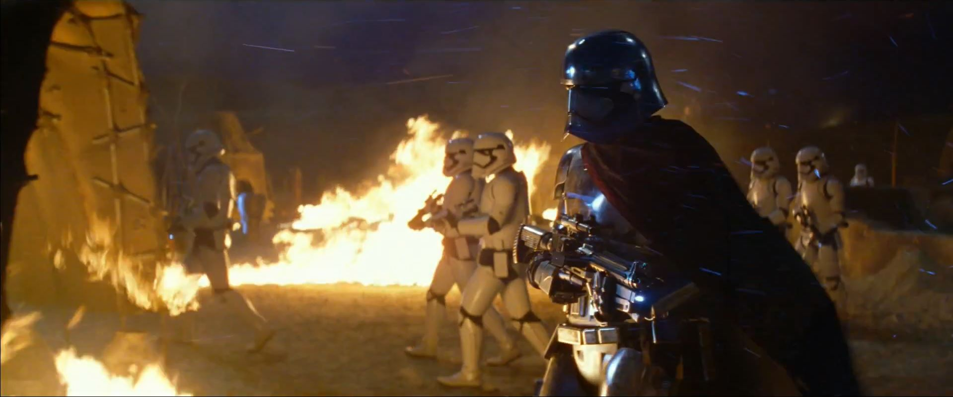 Captain Phasma (Gwendoline Christie) leads storm troopers in Stanley Kubrick shot