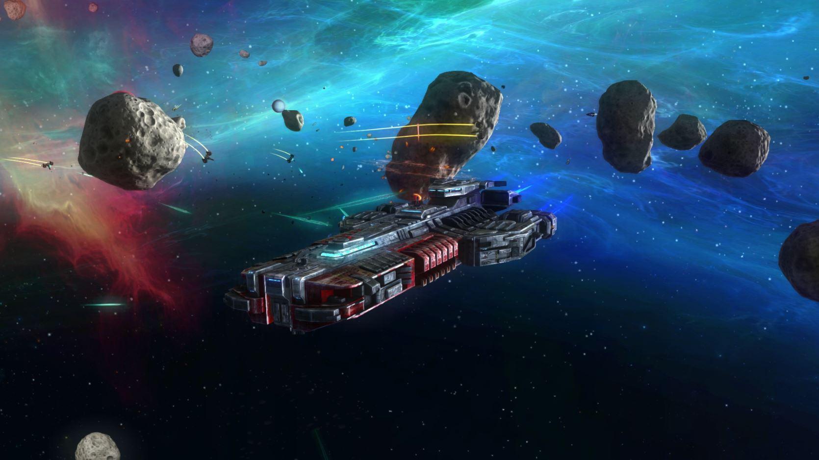 Rebel Galaxy flying through asteroids