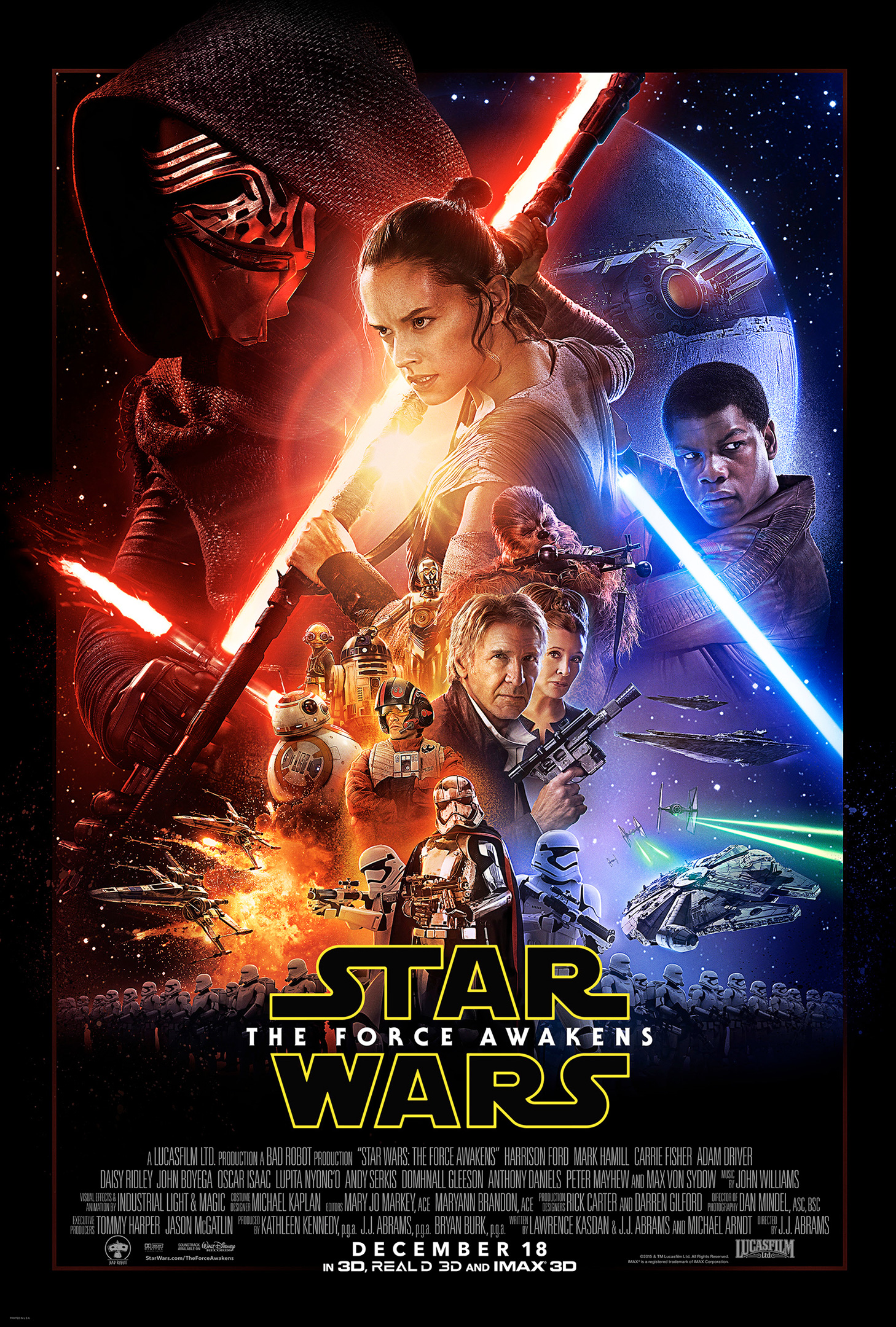 The Force Awakens poster. John Boyega, Carrie Fisher, Harrison Ford and Daisy Ridley