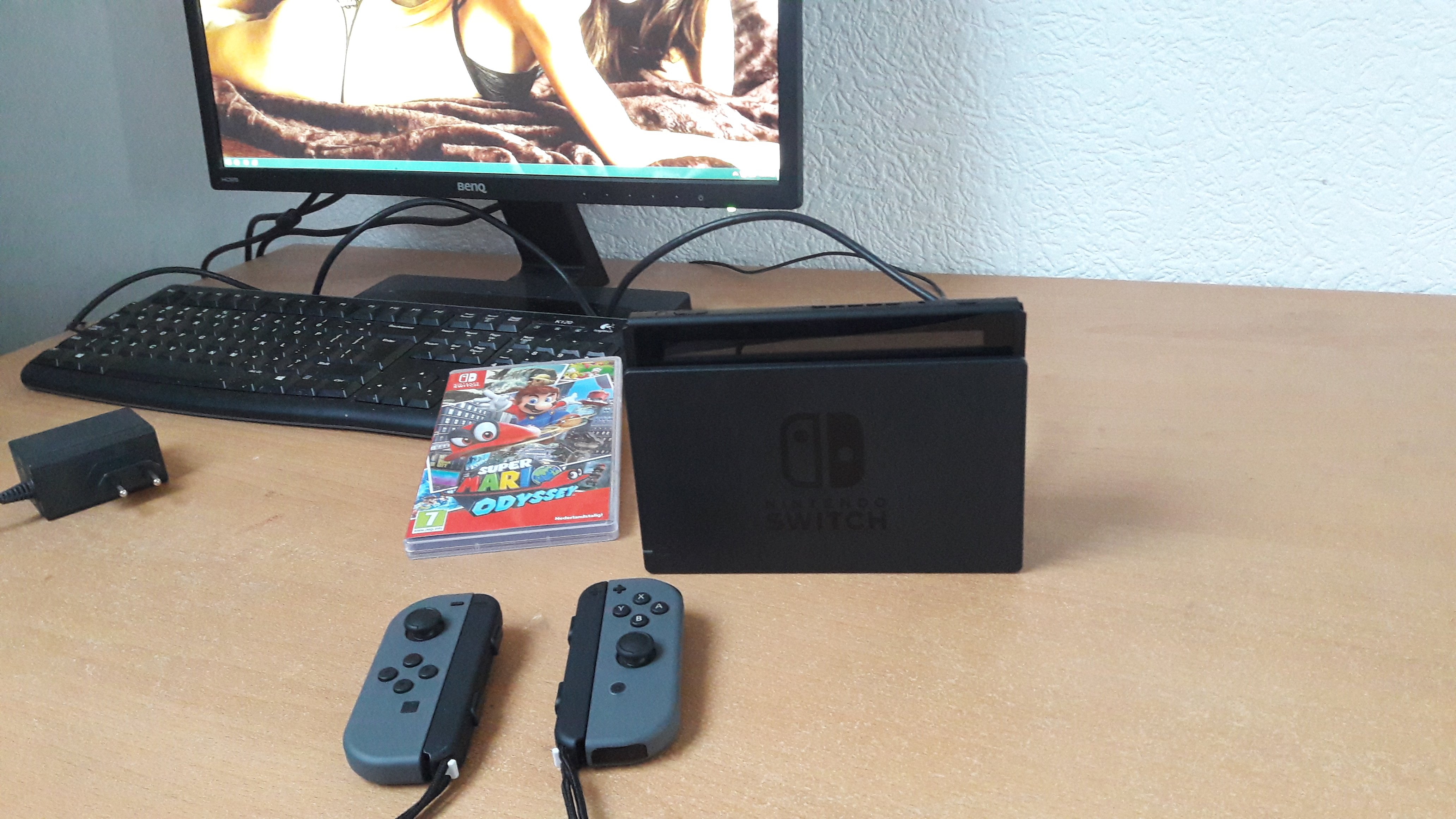 Nintendo Switch console in docking station