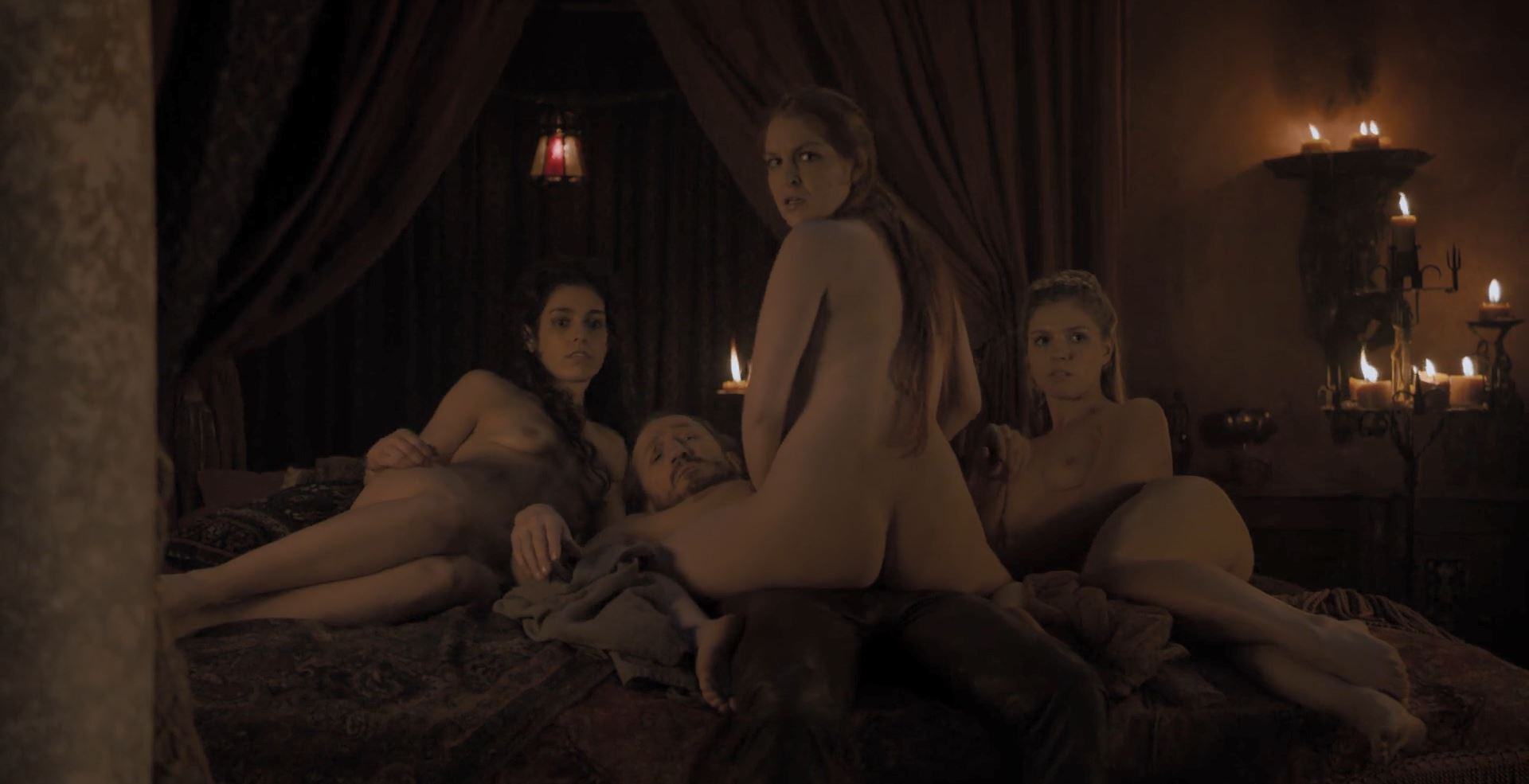Game of Thrones S08E01 Winterfell Review - Ser Bronn of the Blackwater fucking three nude girls