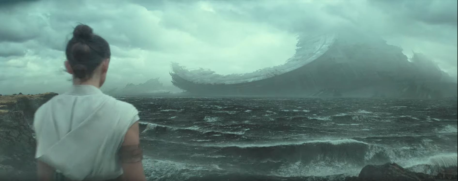 Star Wars The Rise of Skywalker Rey observes remains of a third Deathstar