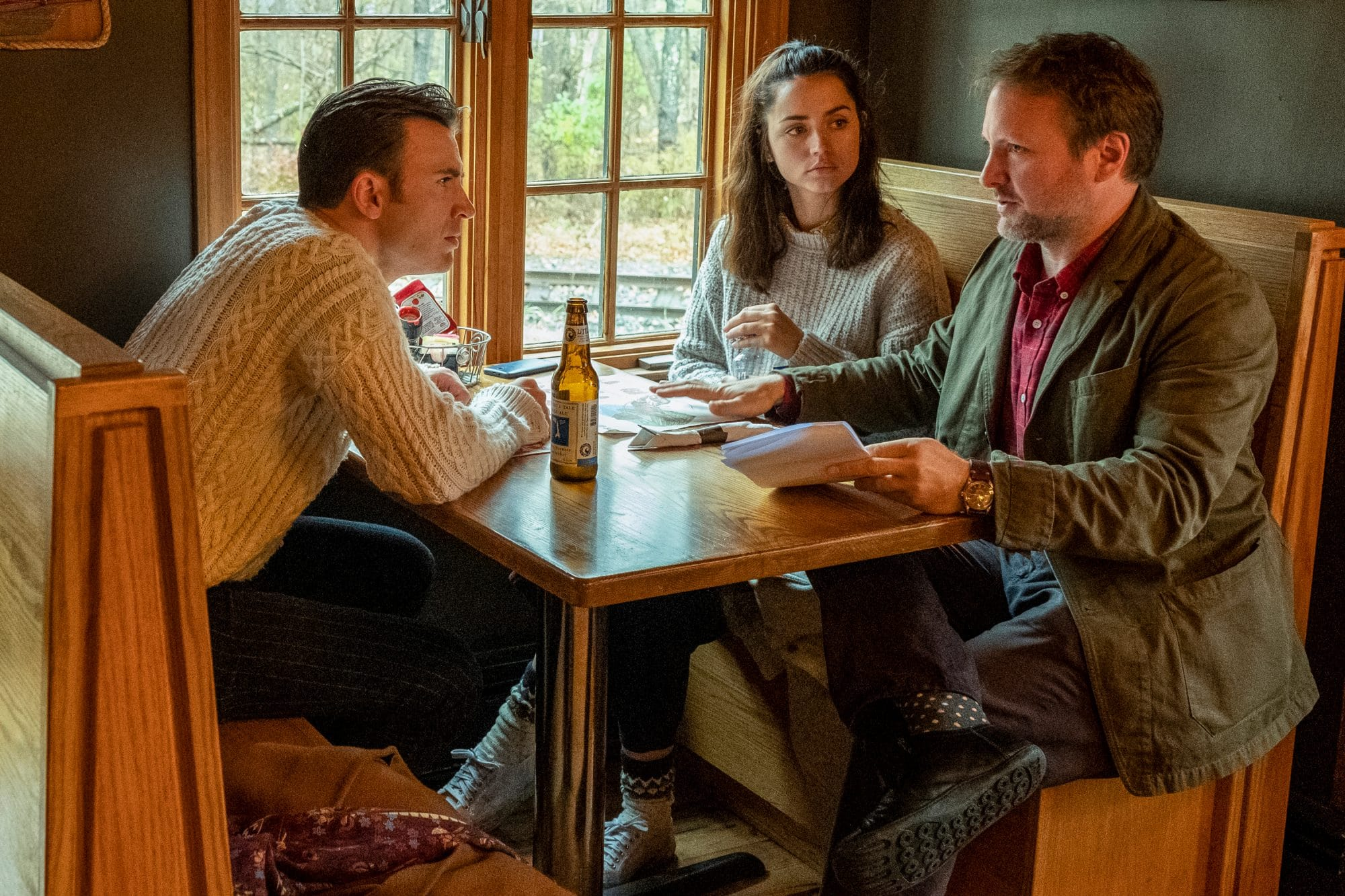 Knives Out poster director Rian Johnson with Chris Evans and Ana de Armas