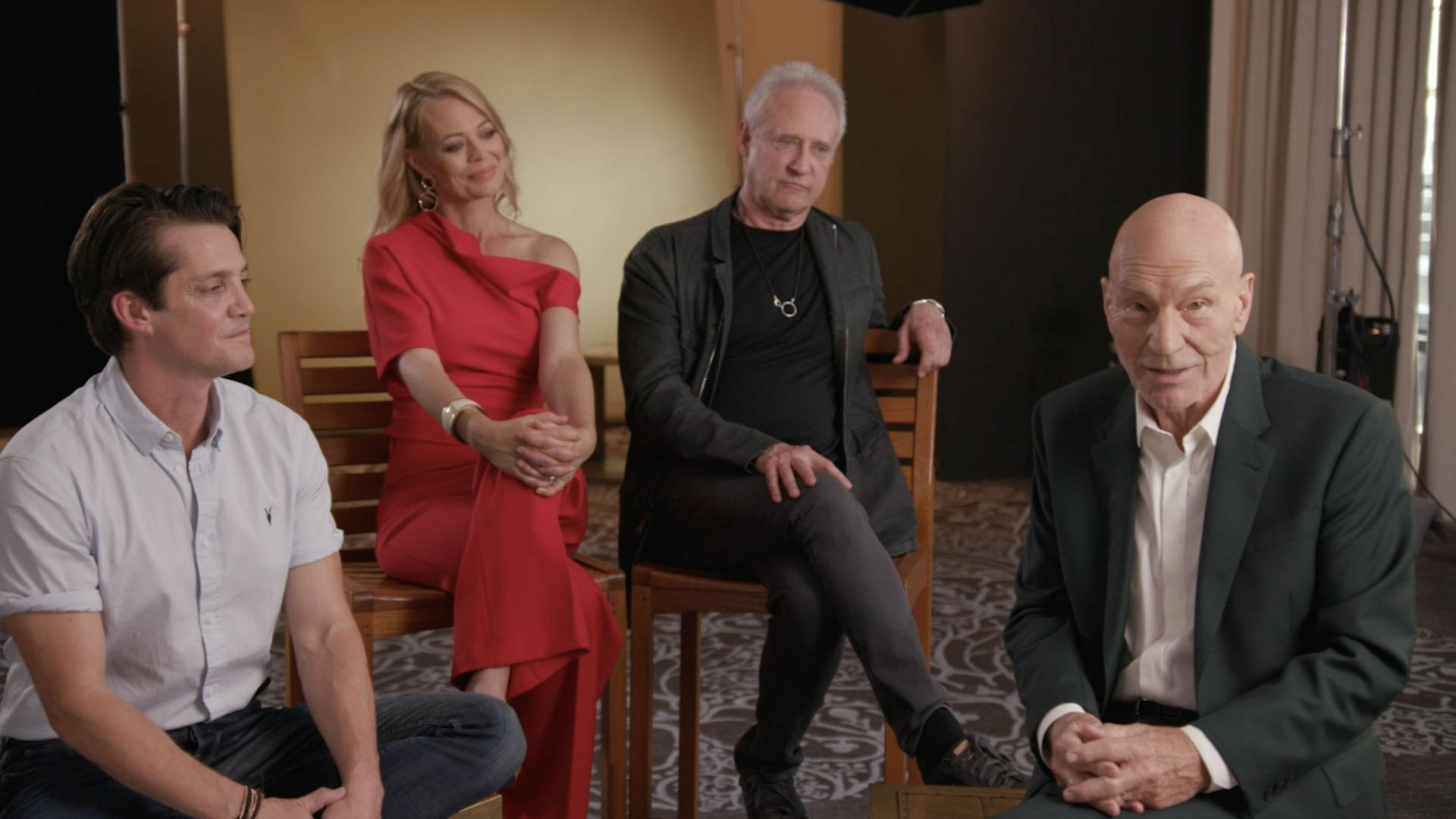 Star Trek Picard Preview some of the cast including Patrick Stewart Jeri Ryan and Brent Spiner