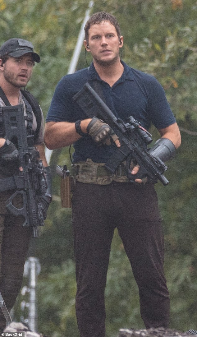 Chris Pratt on the set of The Tomorrow War