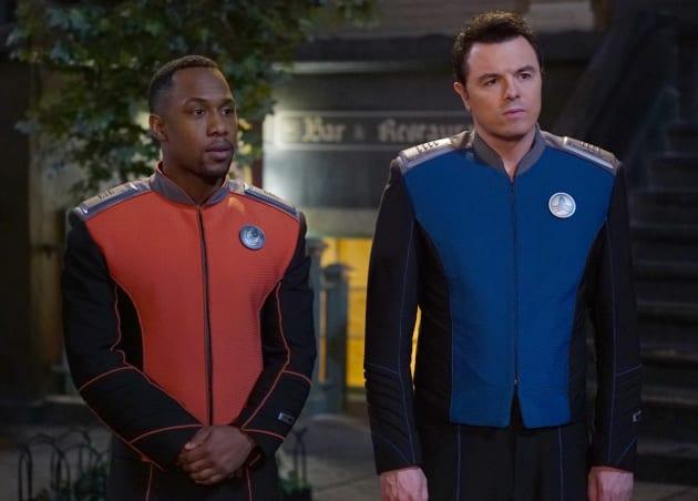 Captain Mercer and Lieutenant Commander John LaMarr on The Orville