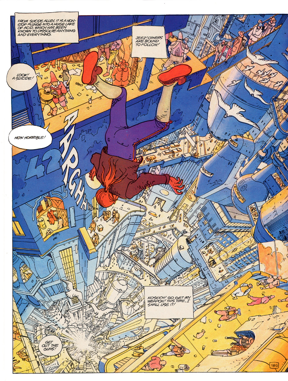 The Incal - John DiFool falling in Suicide Alley
