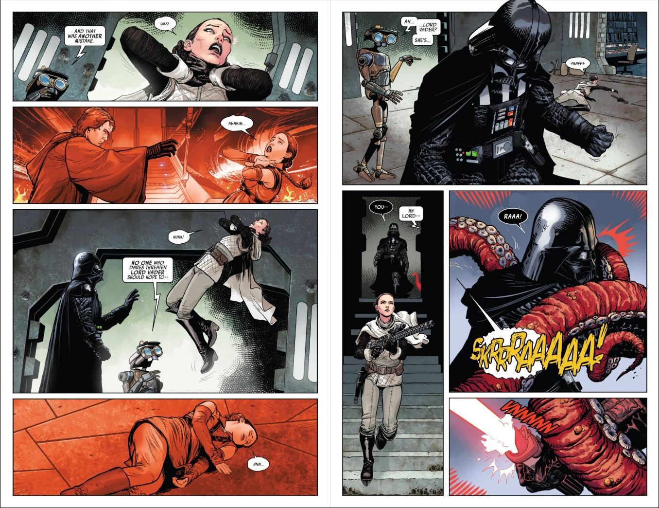 Review Issue 2 Star Wars Darth Vader (2020) - Vader strangling Padme and Sabe