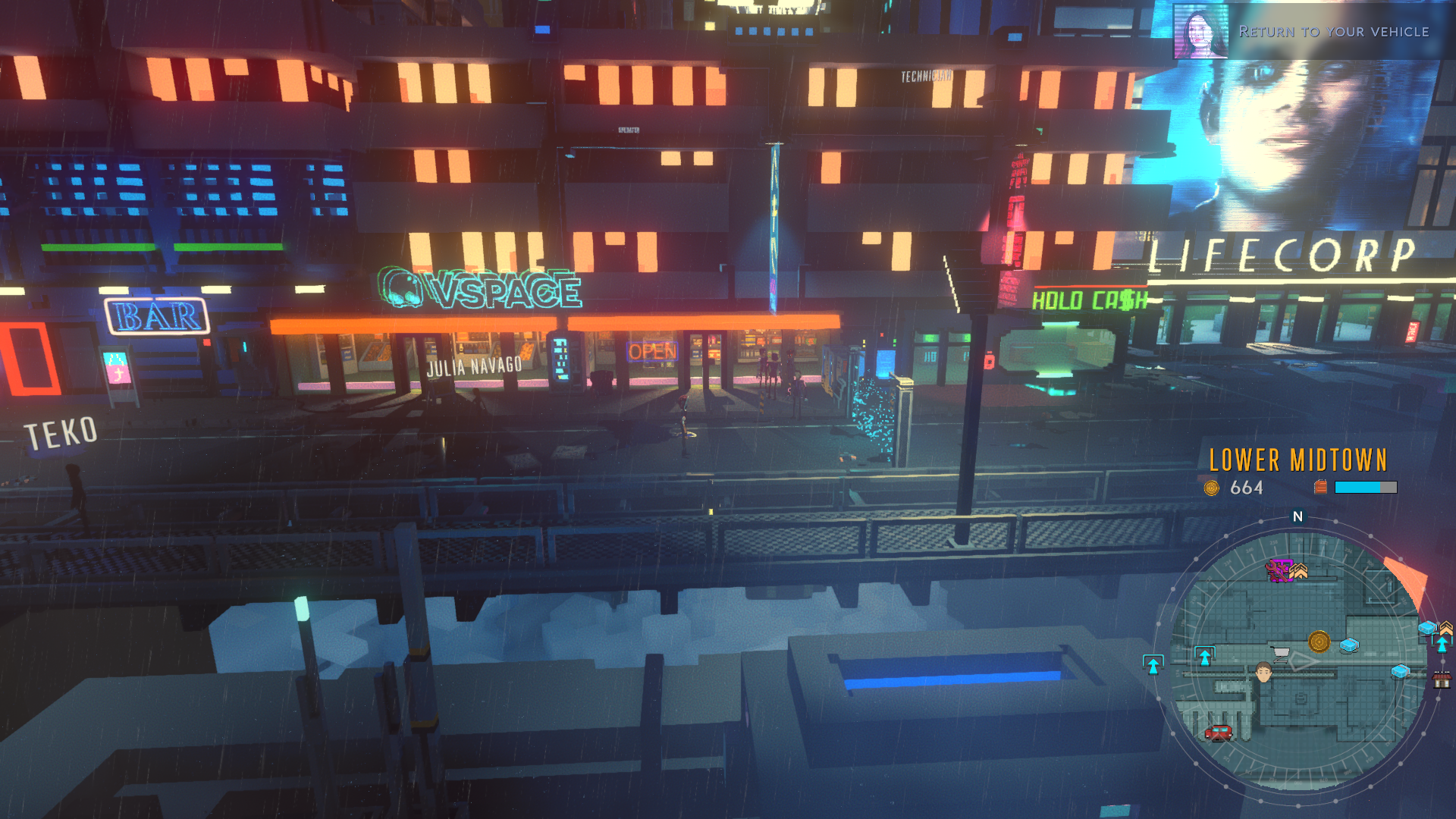 Cloudpunk Review - walking the streets