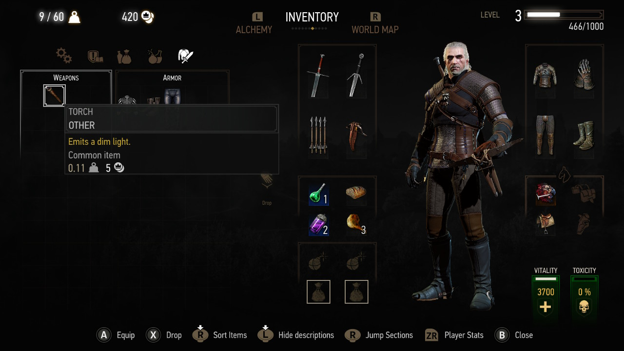 The Witcher 3 on Nintendo Switch inventory system