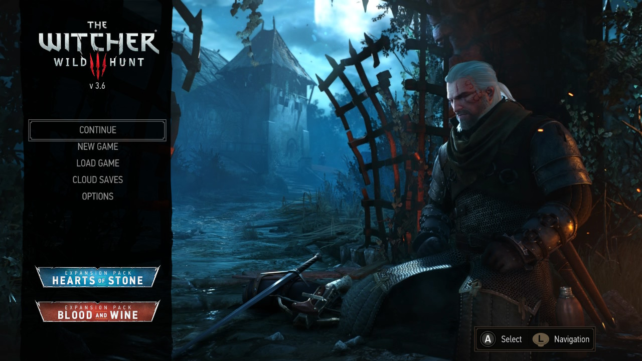 The Witcher 3 on Nintendo Switch main menu