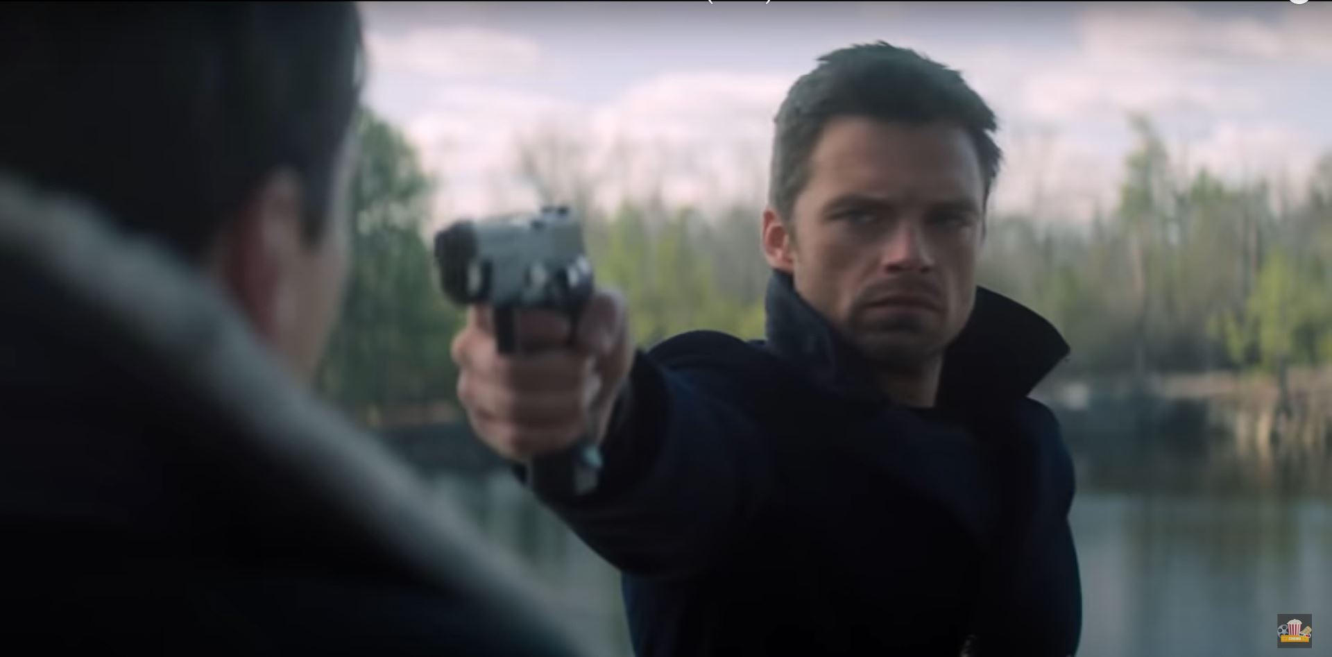 The Falcon and the Winter Soldier Bucky points a gun at Zemo