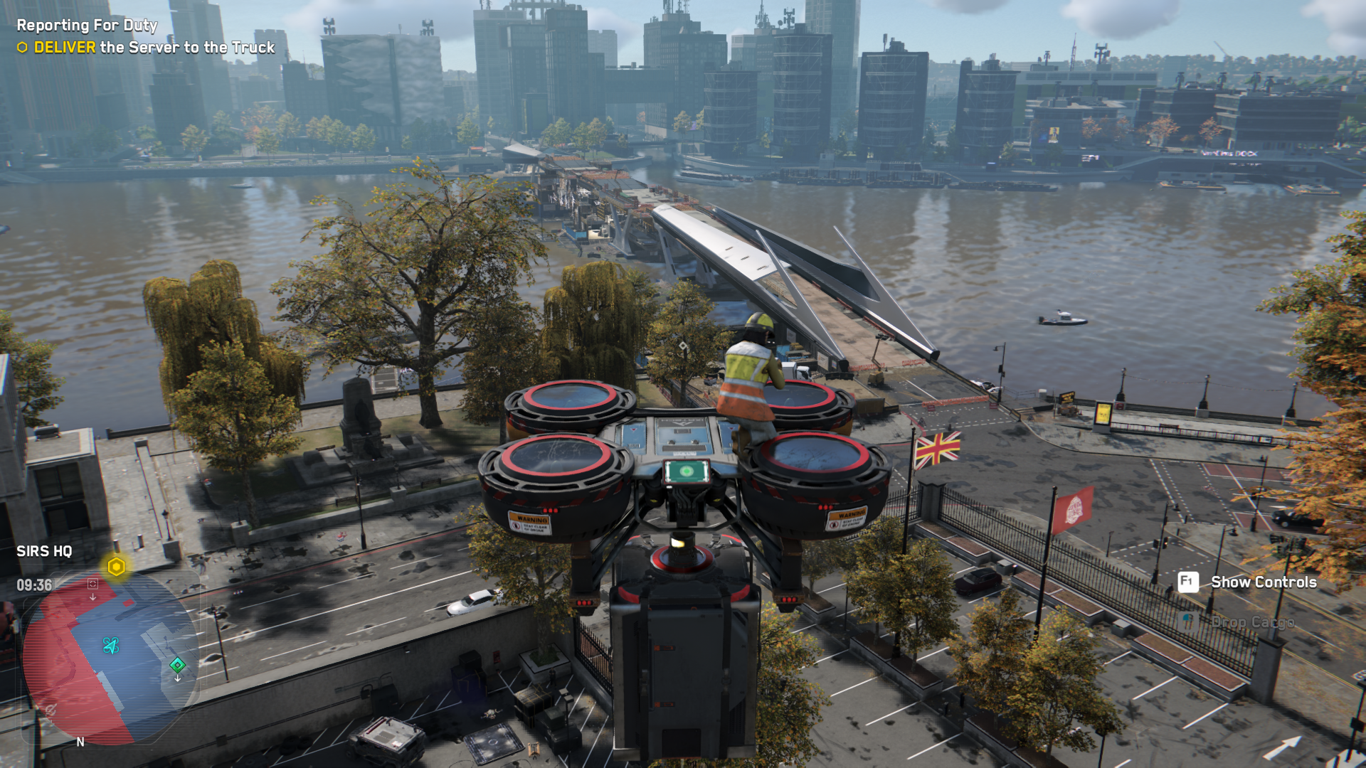 Watch Dogs Legion riding a drone